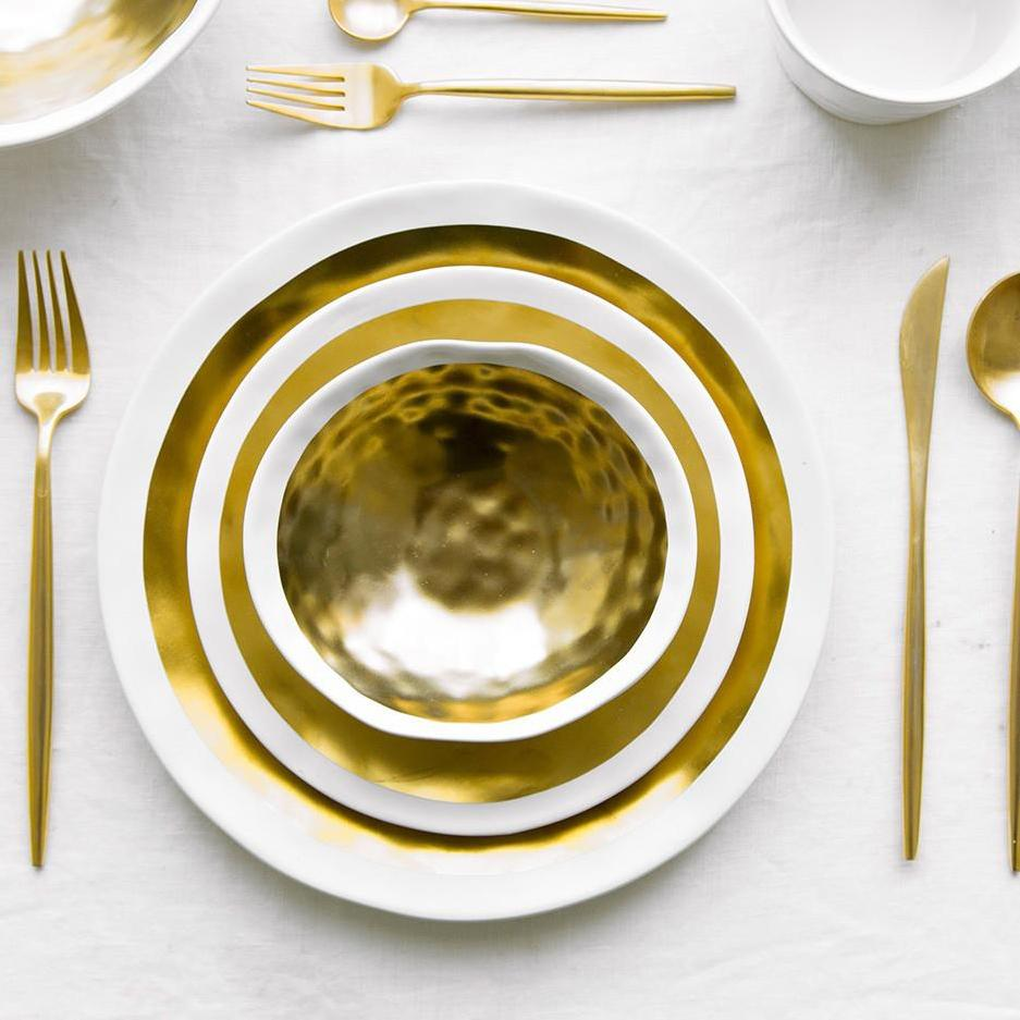 Nord Sliver/Gold Ceramic Dinner Plates