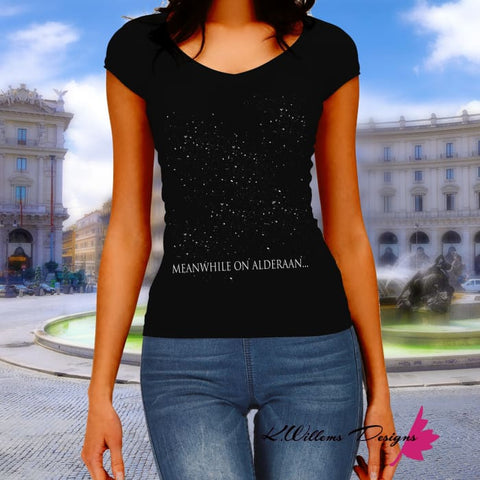 Meanwhile On Alderaan Womens V-Neck T-Shirt