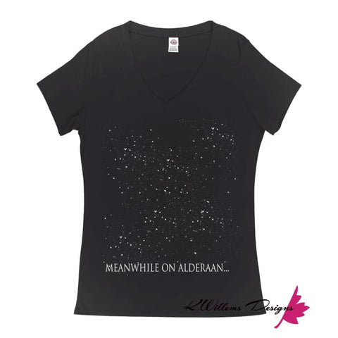 Image of Meanwhile On Alderaan Women's V-Neck T-Shirt - Small (S)
