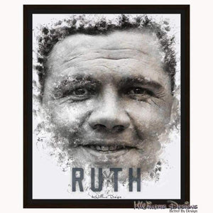Babe Ruth Ink Smudge Style Art Print - Framed Canvas Art Print / 16x20 inch