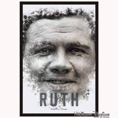 Image of Babe Ruth Ink Smudge Style Art Print - Framed Canvas Art Print / 24x36 inch
