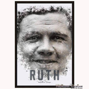 Babe Ruth Ink Smudge Style Art Print - Framed Canvas Art Print / 24x36 inch