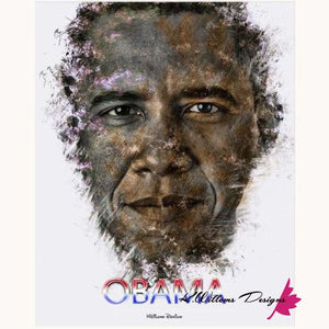 Barack Obama Ink Smudge Style Art Print - Acrylic Art Print / 16x20 inch