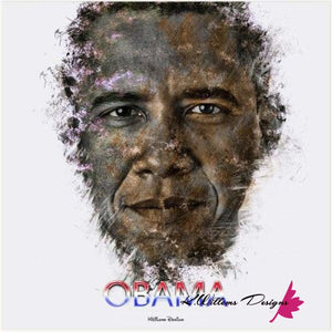 Barack Obama Ink Smudge Style Art Print - Acrylic Art Print / 24x24 inch