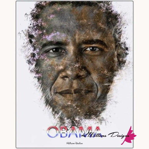 Image of Barack Obama Ink Smudge Style Art Print - Metal Art Print / 16x20 inch