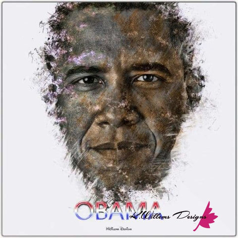 Image of Barack Obama Ink Smudge Style Art Print - Metal Art Print / 24x24 inch