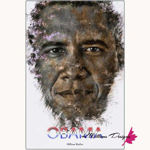 Image of Barack Obama Ink Smudge Style Art Print - Metal Art Print / 24x36 inch