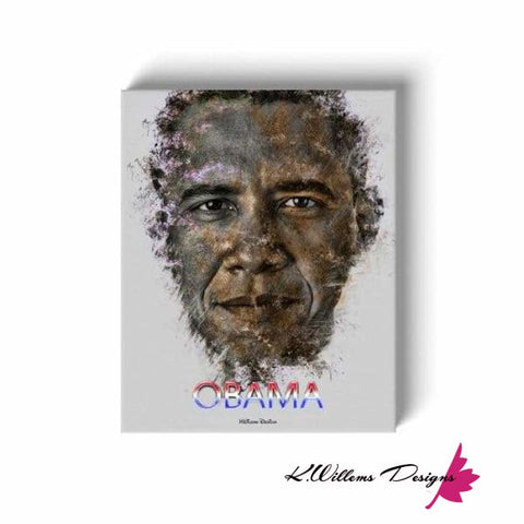 Image of Barack Obama Ink Smudge Style Art Print - Wrapped Canvas Art Print / 16x20 inch