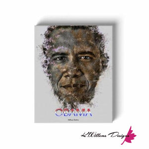 Barack Obama Ink Smudge Style Art Print - Wrapped Canvas Art Print / 16x20 inch