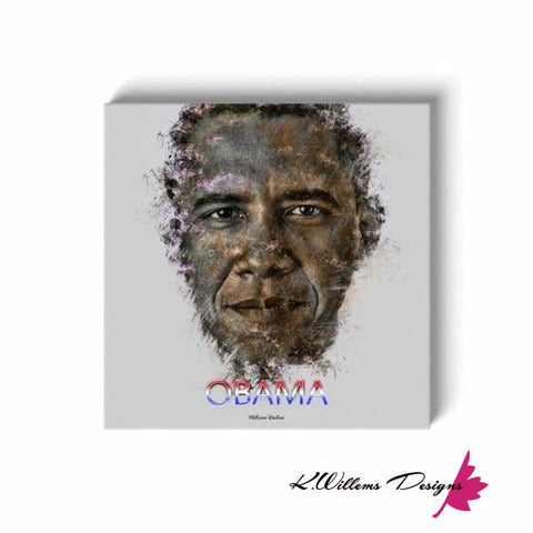 Image of Barack Obama Ink Smudge Style Art Print - Wrapped Canvas Art Print / 24x24 inch