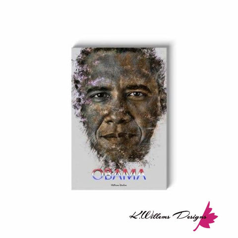 Image of Barack Obama Ink Smudge Style Art Print - Wrapped Canvas Art Print / 24x36 inch