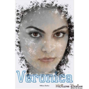 Camila Mendes as Veronica Ink Smudge Style Art Print - Acrylic Art Print / 24x36 inch