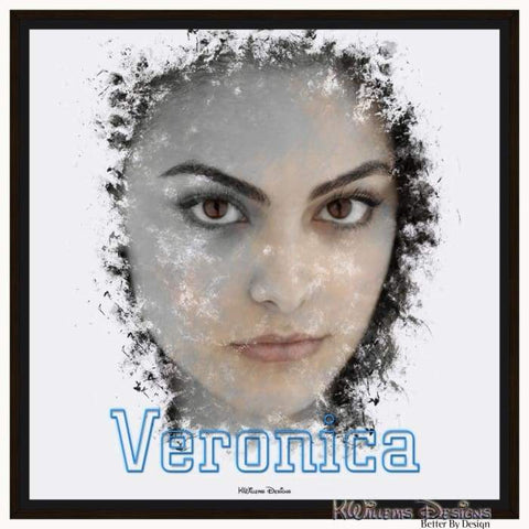 Camila Mendes as Veronica Ink Smudge Style Art Print - Framed Canvas Art Print / 24x24 inch