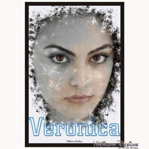 Camila Mendes as Veronica Ink Smudge Style Art Print - Framed Canvas Art Print / 24x36 inch