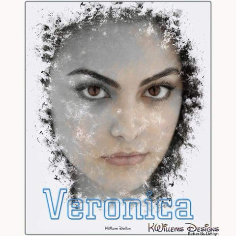 Camila Mendes as Veronica Ink Smudge Style Art Print - Metal Art Print / 16x20 inch
