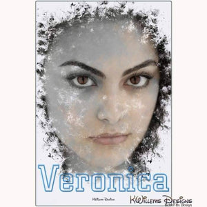 Camila Mendes as Veronica Ink Smudge Style Art Print - Metal Art Print / 24x36 inch