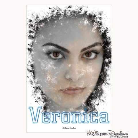 Camila Mendes as Veronica Ink Smudge Style Art Print - Wrapped Canvas Art Print / 24x36 inch