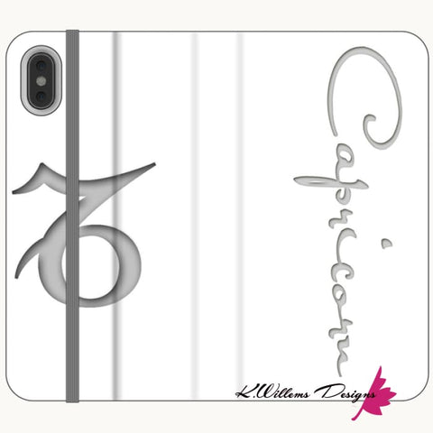 Image of Capricorn Phone Case - iPhone XS Max / Premium Folio Wallet Satin Case