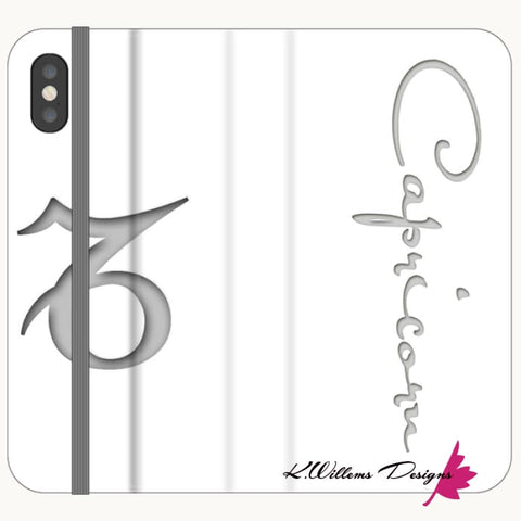 Image of Capricorn Phone Case - iPhone XS / Premium Folio Wallet Satin Case