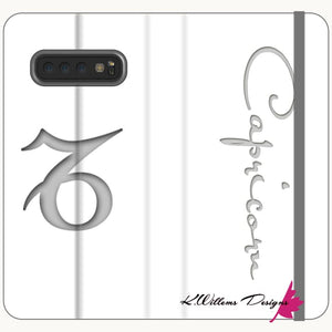 Capricorn Phone Case - Samsung Galaxy S10 Plus / Premium Folio Wallet Satin Case