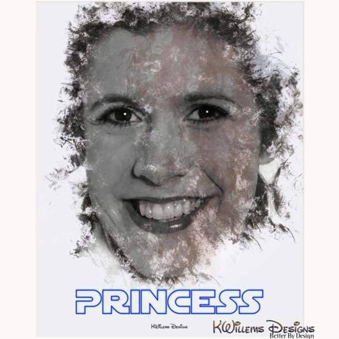 Image of Carrie Fisher as Leia Ink Smudge Style Art Print - Acrylic Art Print / 16x20 inch