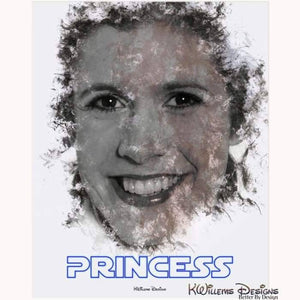 Carrie Fisher as Leia Ink Smudge Style Art Print - Acrylic Art Print / 16x20 inch