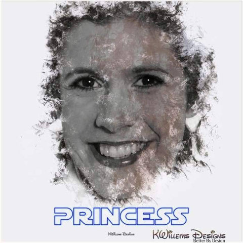 Image of Carrie Fisher as Leia Ink Smudge Style Art Print - Acrylic Art Print / 24x24 inch