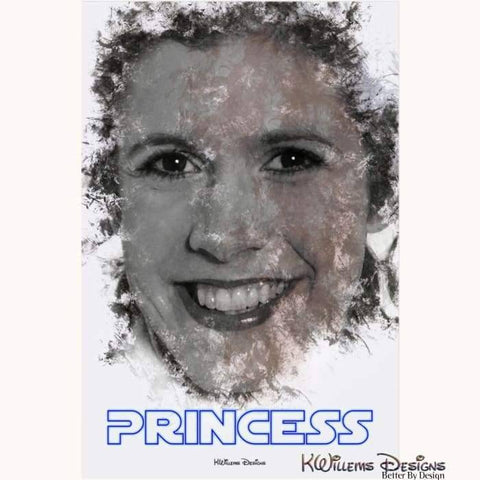 Image of Carrie Fisher as Leia Ink Smudge Style Art Print - Acrylic Art Print / 24x36 inch