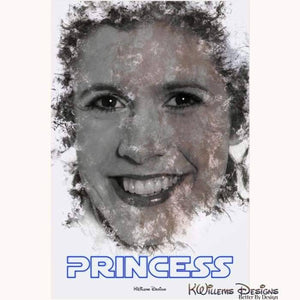 Carrie Fisher as Leia Ink Smudge Style Art Print - Acrylic Art Print / 24x36 inch