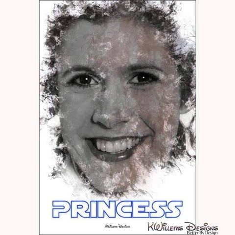 Image of Carrie Fisher as Leia Ink Smudge Style Art Print