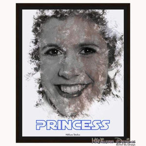 Carrie Fisher as Leia Ink Smudge Style Art Print - Framed Canvas Art Print / 16x20 inch
