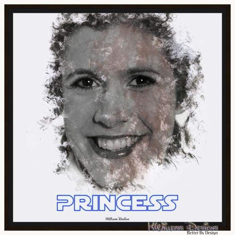 Carrie Fisher as Leia Ink Smudge Style Art Print - Framed Canvas Art Print / 24x24 inch