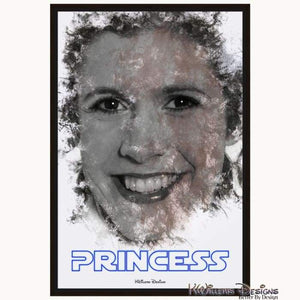 Carrie Fisher as Leia Ink Smudge Style Art Print - Framed Canvas Art Print / 24x36 inch
