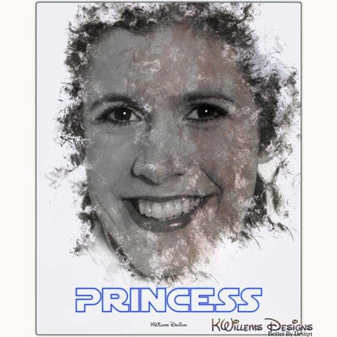 Image of Carrie Fisher as Leia Ink Smudge Style Art Print - Metal Art Print / 16x20 inch