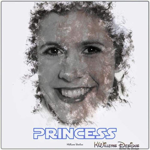 Image of Carrie Fisher as Leia Ink Smudge Style Art Print - Metal Art Print / 24x24 inch