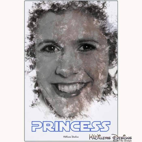 Image of Carrie Fisher as Leia Ink Smudge Style Art Print - Metal Art Print / 24x36 inch