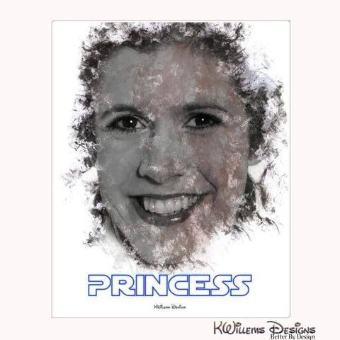 Image of Carrie Fisher as Leia Ink Smudge Style Art Print - Wrapped Canvas Art Print / 16x20 inch