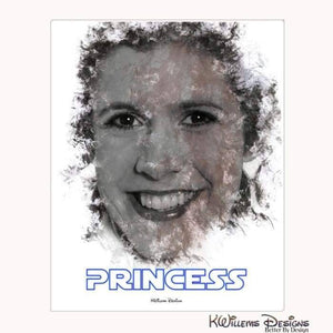 Carrie Fisher as Leia Ink Smudge Style Art Print - Wrapped Canvas Art Print / 16x20 inch