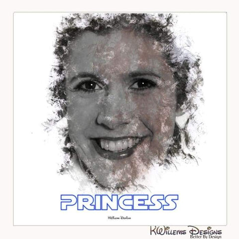 Image of Carrie Fisher as Leia Ink Smudge Style Art Print - Wrapped Canvas Art Print / 24x24 inch