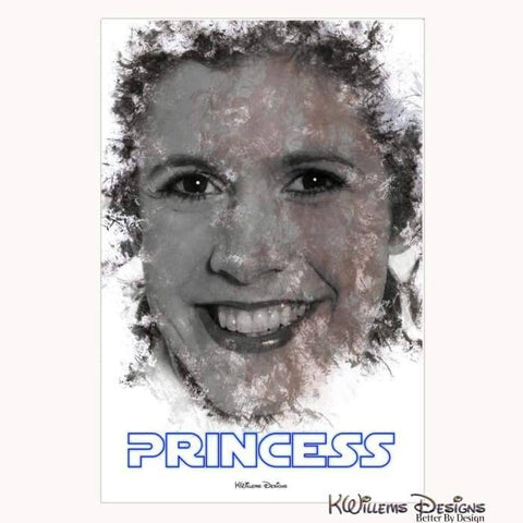Image of Carrie Fisher as Leia Ink Smudge Style Art Print - Wrapped Canvas Art Print / 24x36 inch