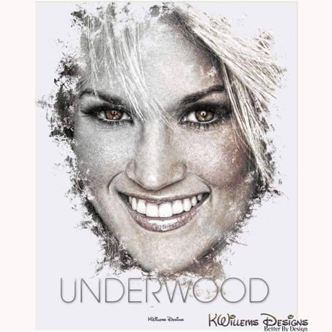 Carrie Underwood Ink Smudge Style Art Print - Acrylic Art Print / 16x20 inch