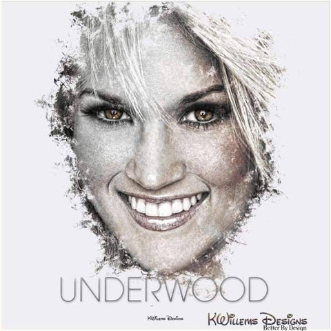 Image of Carrie Underwood Ink Smudge Style Art Print - Acrylic Art Print / 24x24 inch