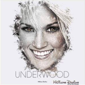 Carrie Underwood Ink Smudge Style Art Print - Acrylic Art Print / 24x24 inch