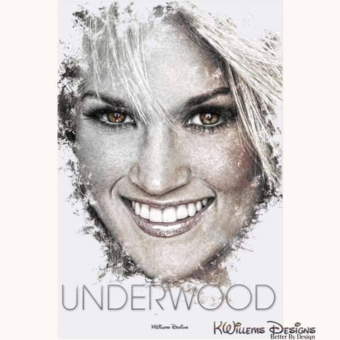 Image of Carrie Underwood Ink Smudge Style Art Print - Acrylic Art Print / 24x36 inch