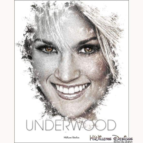 Carrie Underwood Ink Smudge Style Art Print