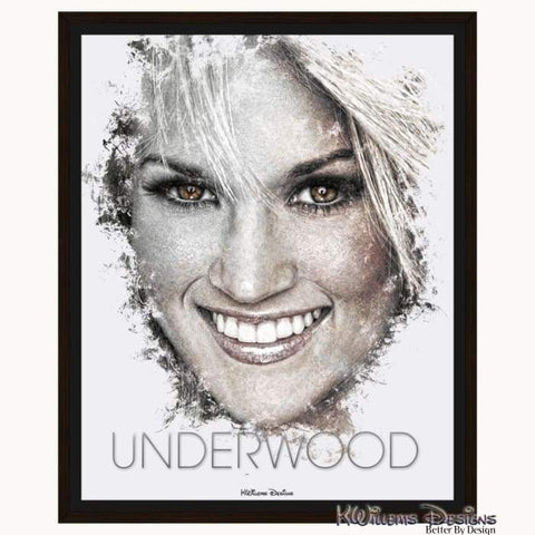 Carrie Underwood Ink Smudge Style Art Print - Framed Canvas Art Print / 16x20 inch