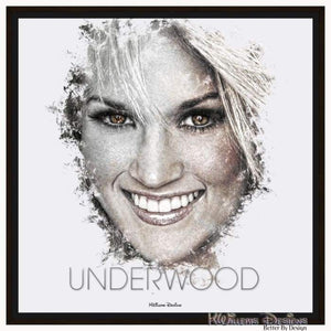 Carrie Underwood Ink Smudge Style Art Print - Framed Canvas Art Print / 24x24 inch