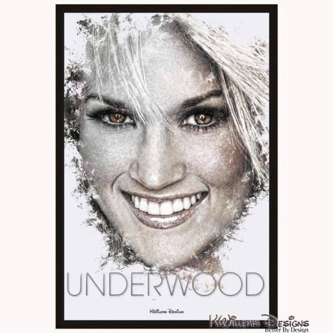 Carrie Underwood Ink Smudge Style Art Print - Framed Canvas Art Print / 24x36 inch