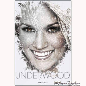 Carrie Underwood Ink Smudge Style Art Print - Metal Art Print / 24x36 inch