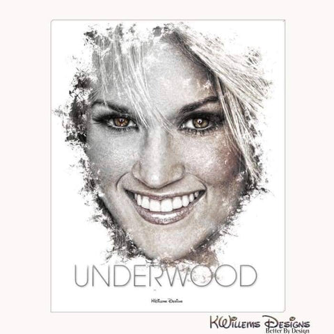 Carrie Underwood Ink Smudge Style Art Print - Wrapped Canvas Art Print / 16x20 inch